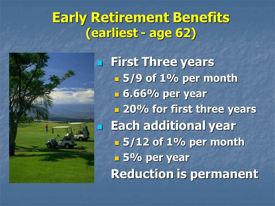 Early Retirement Benefits (earliest - age 62)