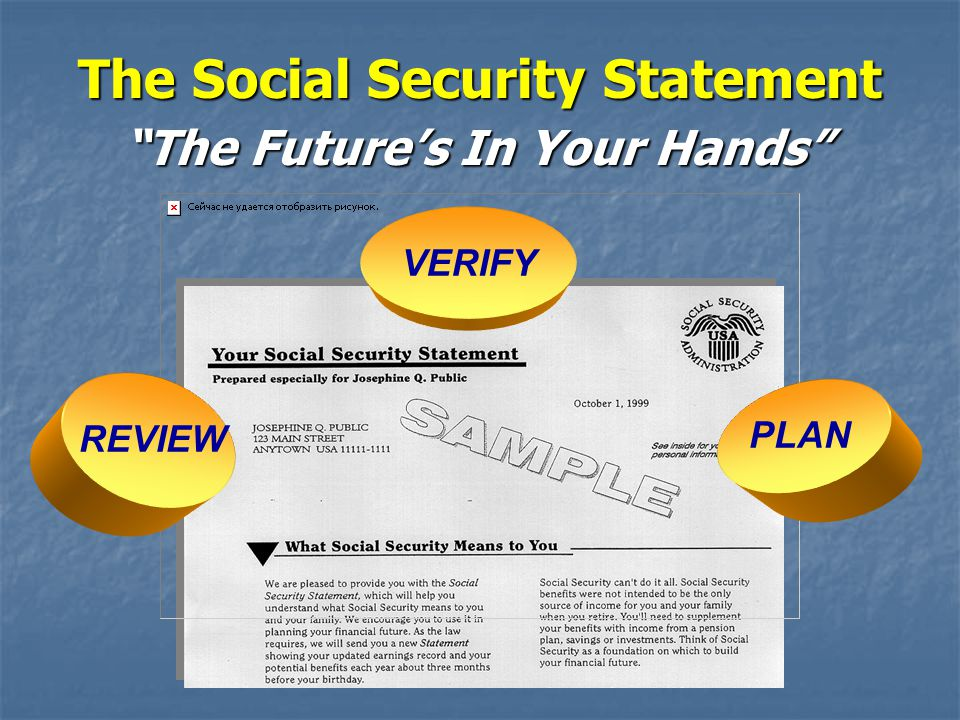 The Social Security Statement The Future's In Your Hands