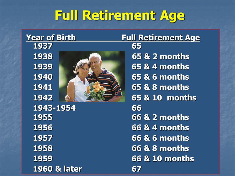 Full Retirement Age Year of Birth Full Retirement Age 1937 65