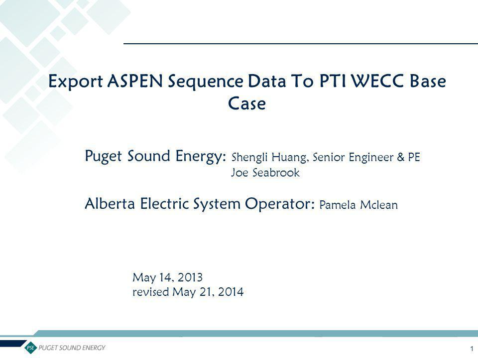 Export ASPEN Sequence Data To PTI WECC Base Case