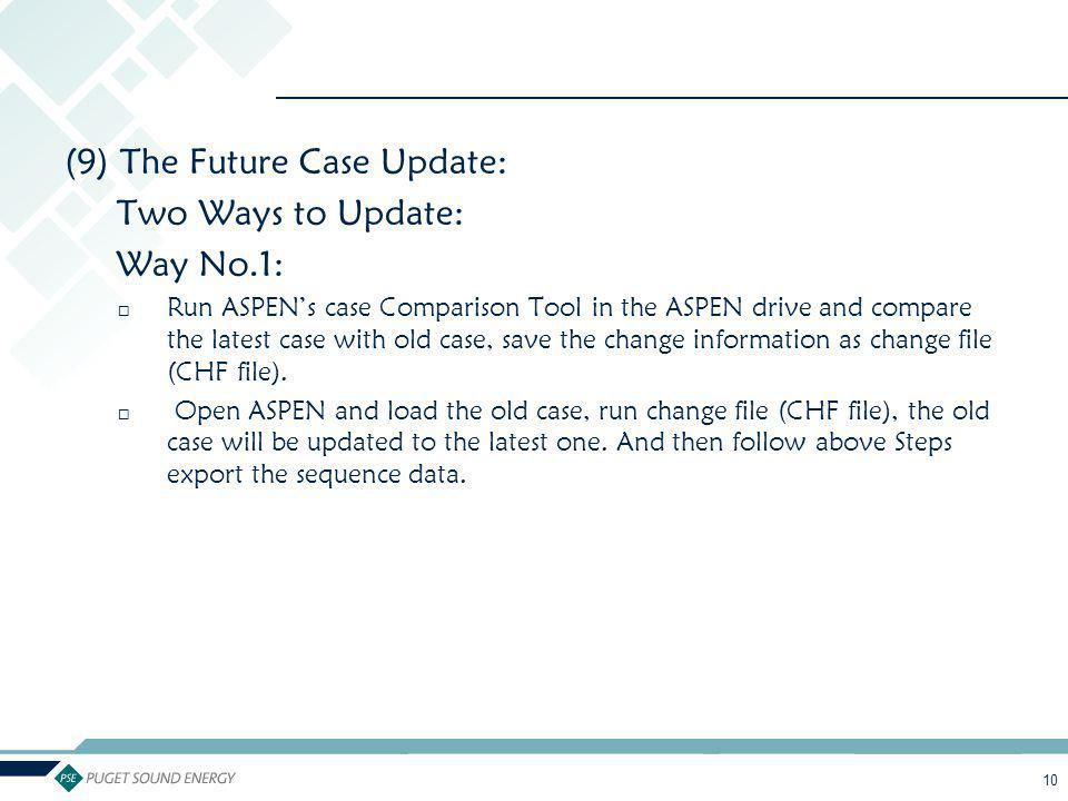 (9) The Future Case Update: Two Ways to Update: Way No.1: