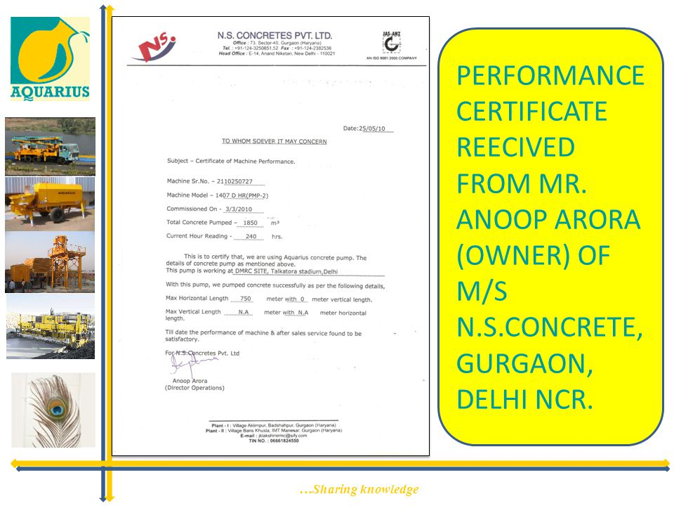 PERFORMANCE CERTIFICATE REECIVED FROM MR. ANOOP ARORA (OWNER) OF M/S N