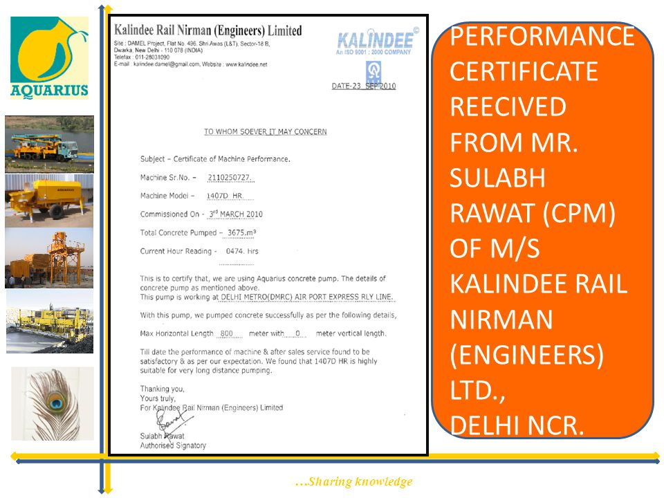 PERFORMANCE CERTIFICATE REECIVED FROM MR