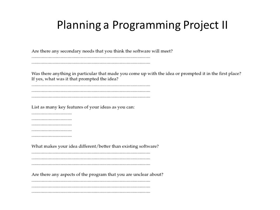 Planning a Programming Project II