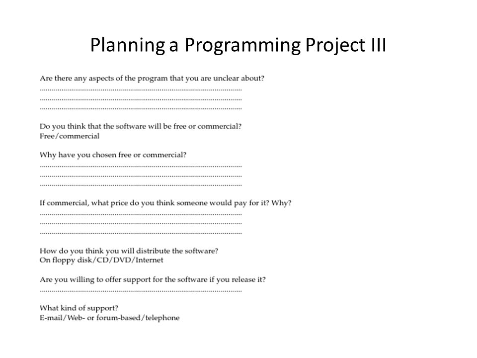 Planning a Programming Project III
