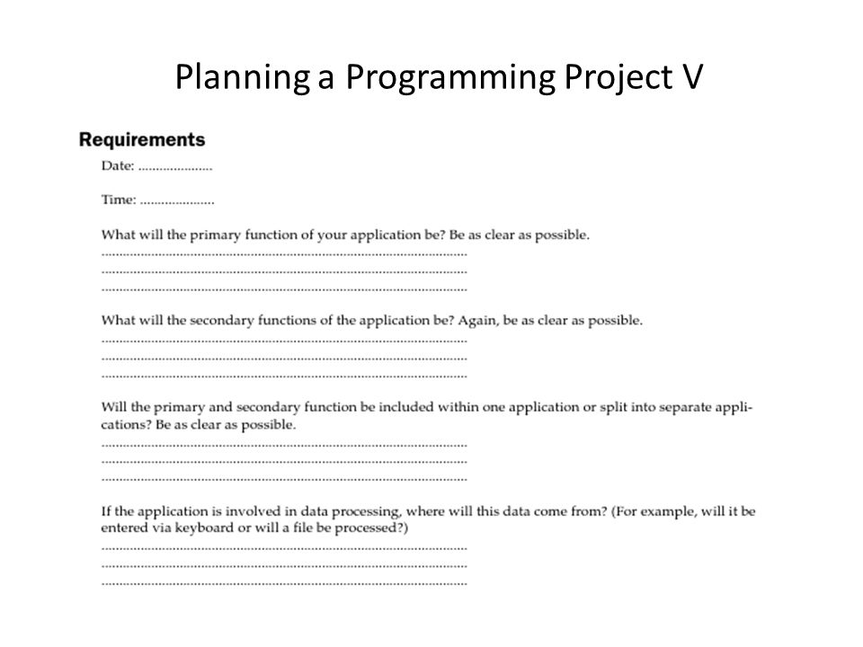 Planning a Programming Project V