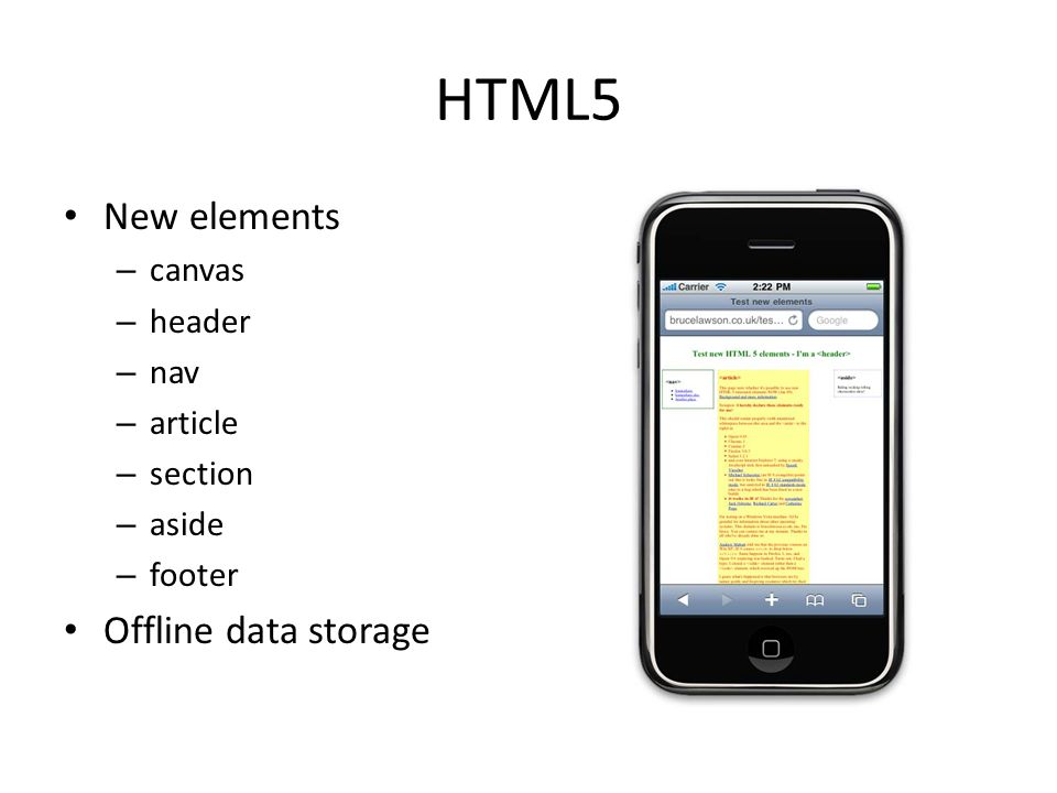 HTML5 New elements Offline data storage canvas header nav article