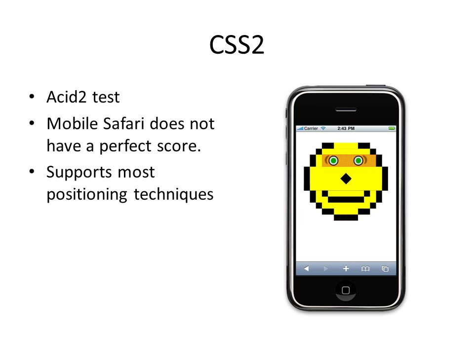 CSS2 Acid2 test Mobile Safari does not have a perfect score.