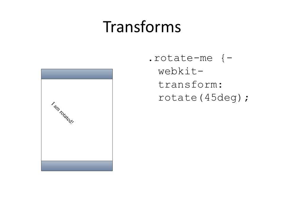Transforms .rotate-me {-webkit-transform: rotate(45deg);