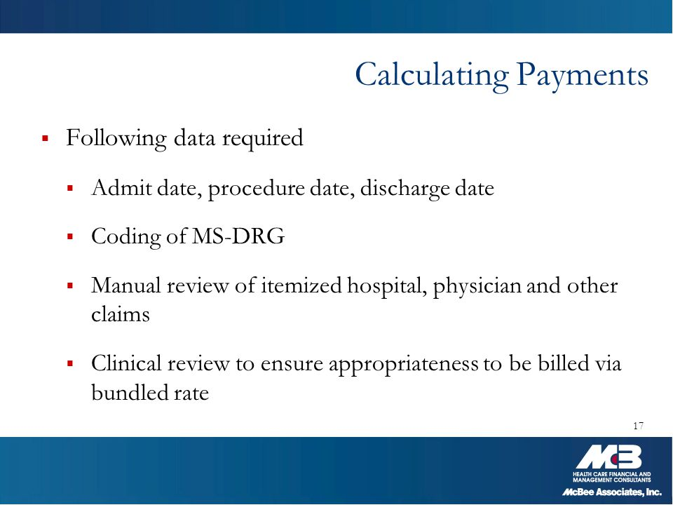 Calculating Payments Following data required