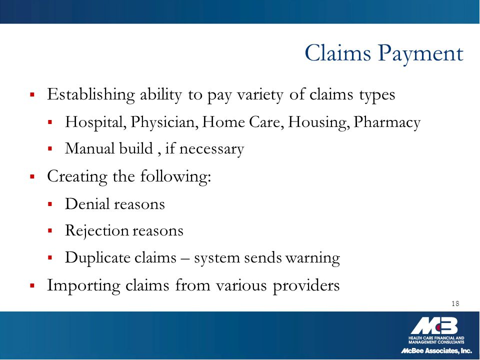 Claims Payment Establishing ability to pay variety of claims types
