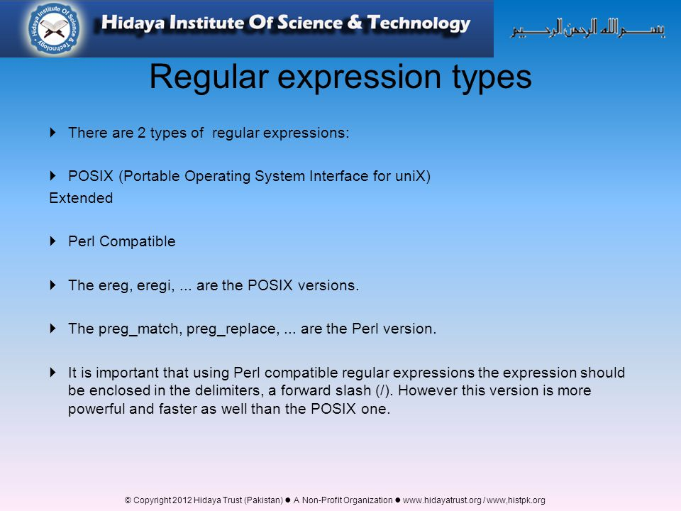 Regular expression types