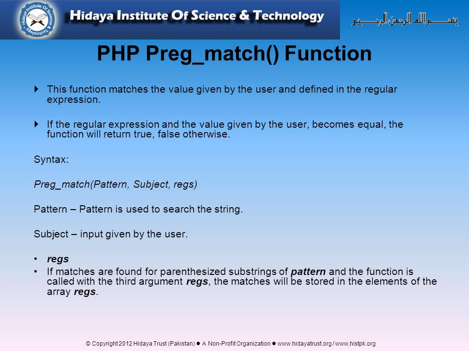 PHP Preg_match() Function