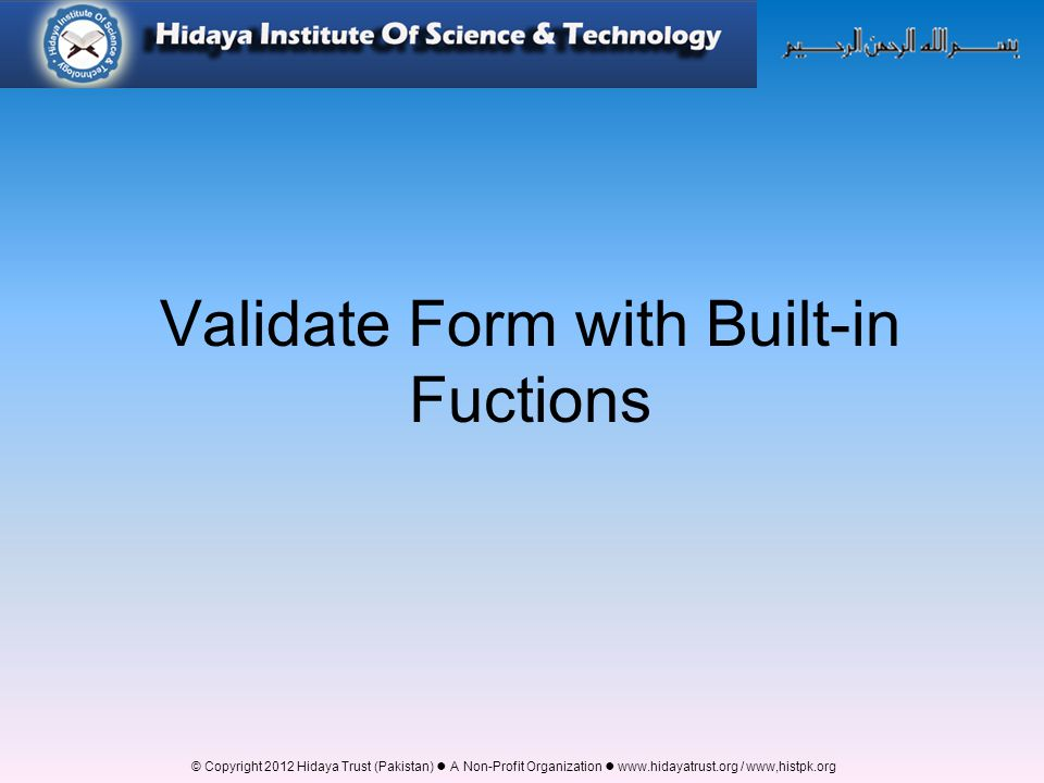 Validate Form with Built-in Fuctions