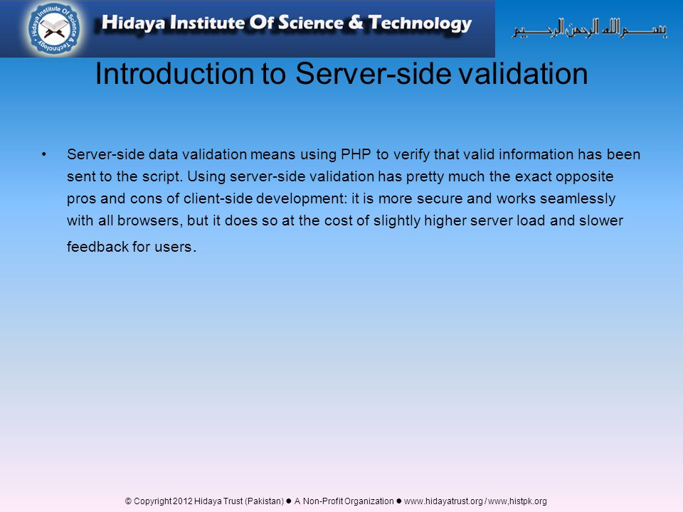 Introduction to Server-side validation
