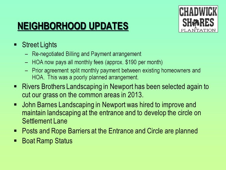 NEIGHBORHOOD UPDATES Street Lights