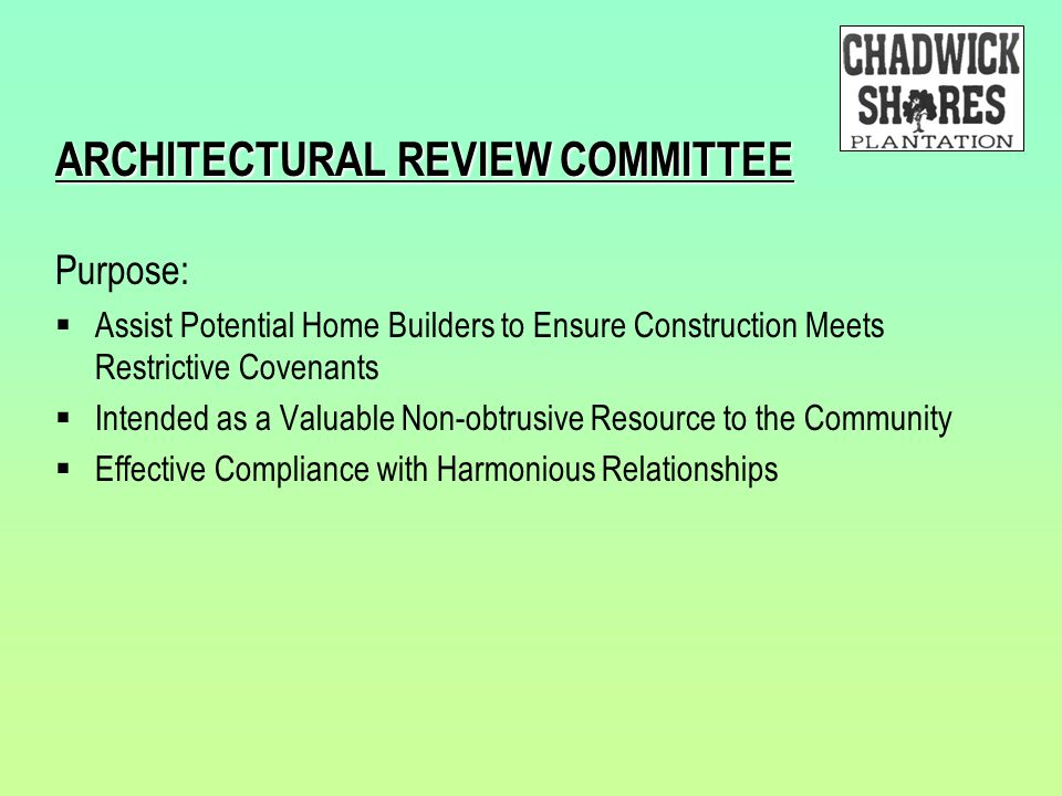 ARCHITECTURAL REVIEW COMMITTEE