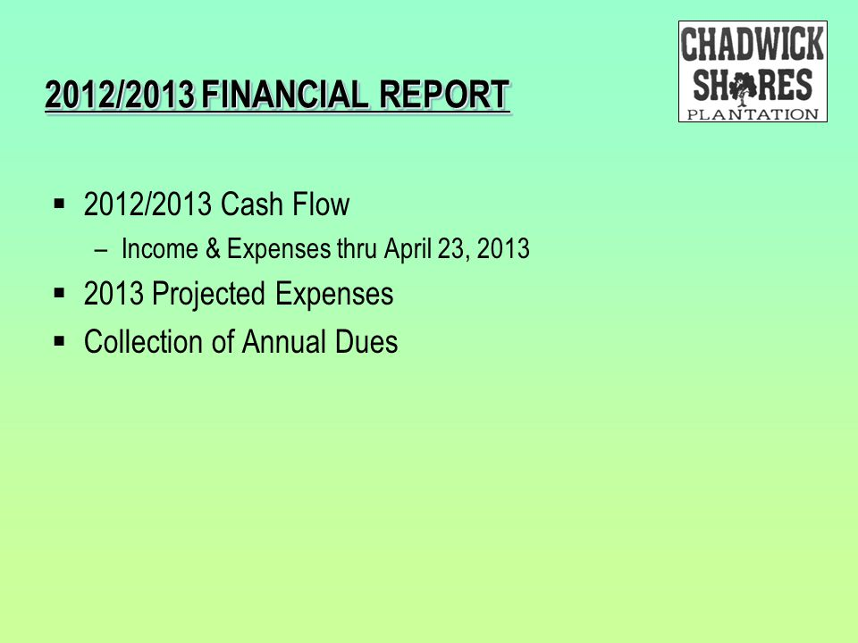 2012/2013 FINANCIAL REPORT 2012/2013 Cash Flow 2013 Projected Expenses