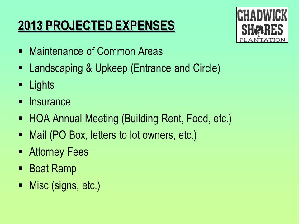 2013 PROJECTED EXPENSES Maintenance of Common Areas