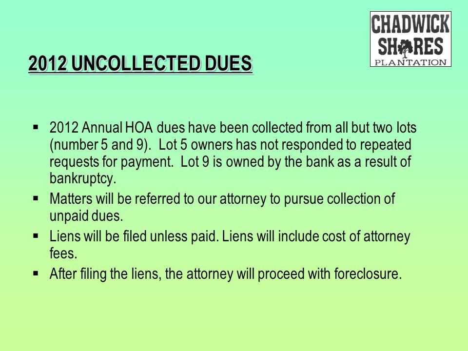 2012 UNCOLLECTED DUES