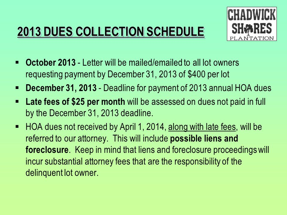 2013 DUES COLLECTION SCHEDULE