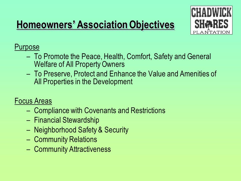 Homeowners' Association Objectives