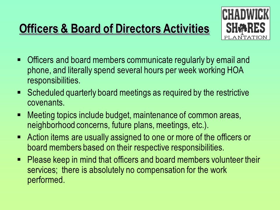 Officers & Board of Directors Activities