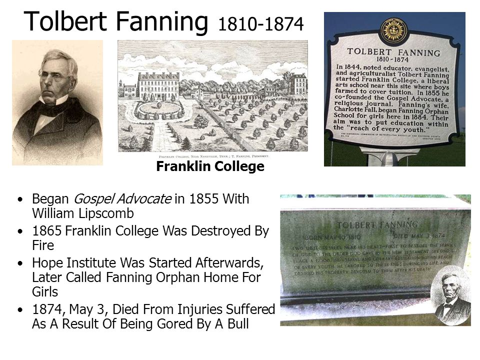 Tolbert Fanning 1810-1874 Franklin College