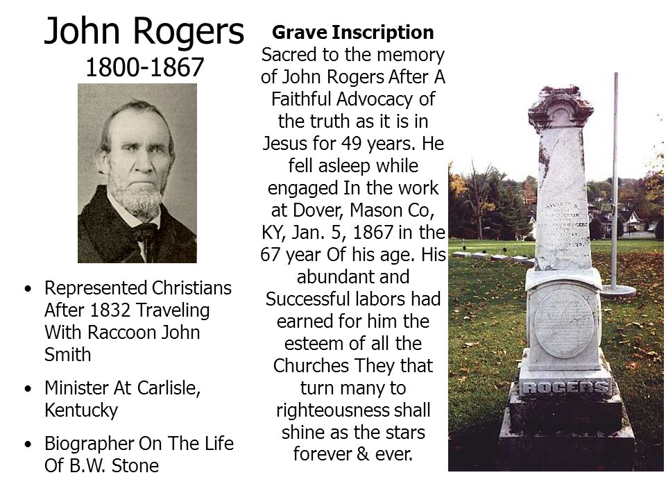 John Rogers 1800-1867 Grave Inscription