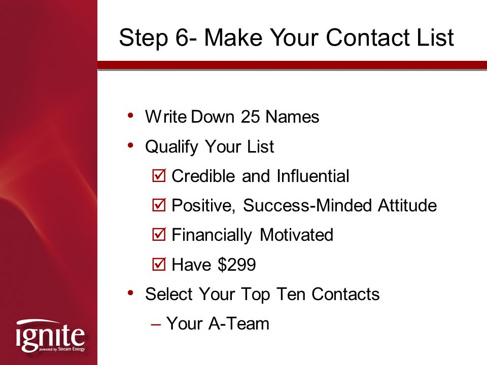 Step 6- Make Your Contact List