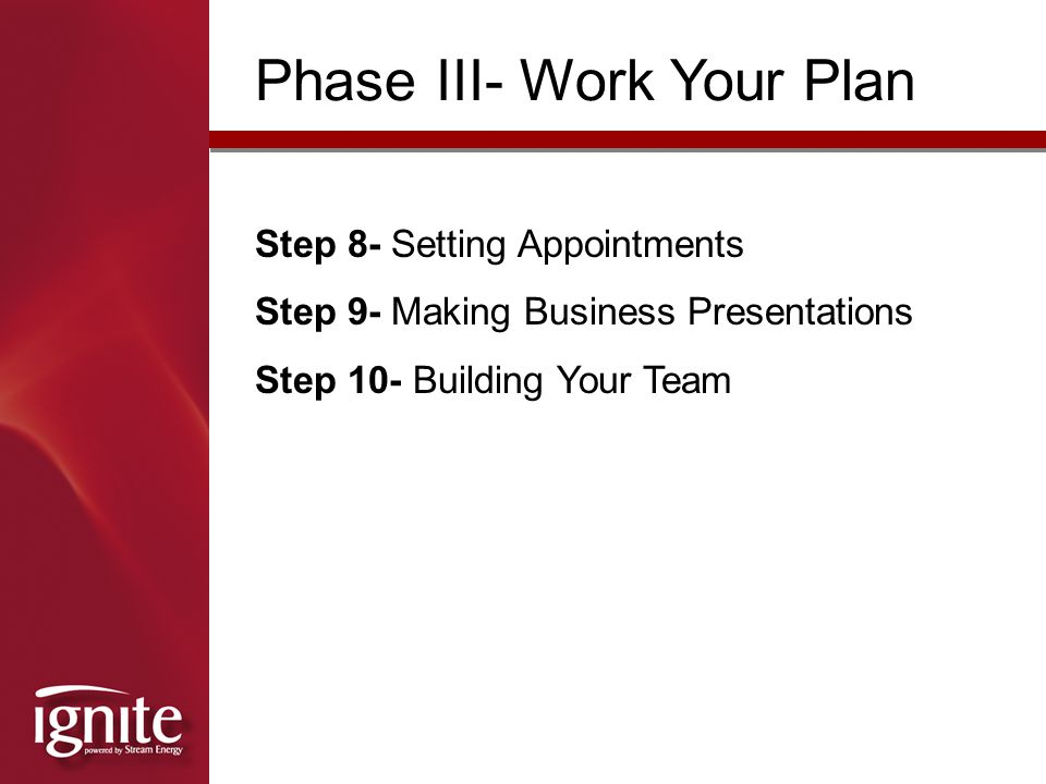 Phase III- Work Your Plan
