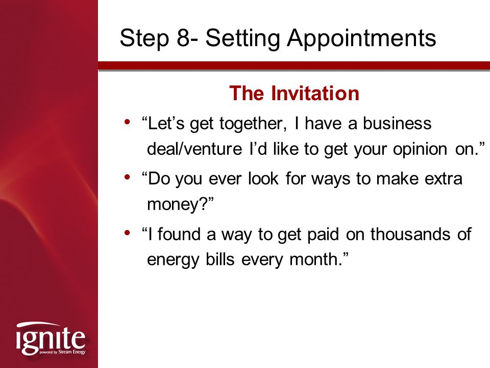 Step 8- Setting Appointments