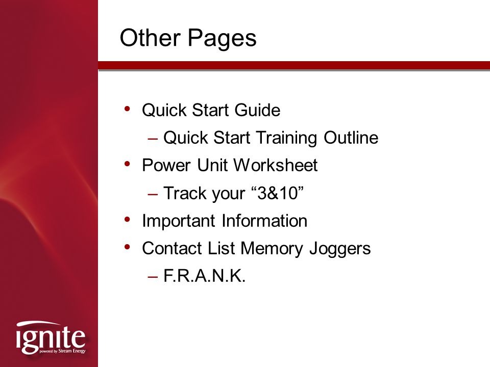 Other Pages Quick Start Guide Quick Start Training Outline
