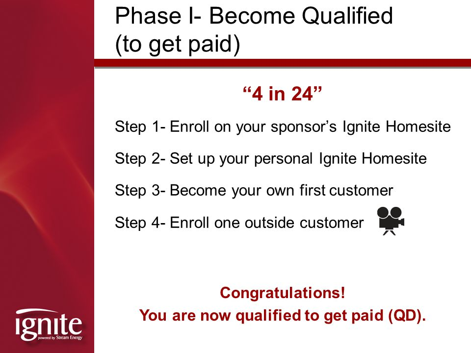 You are now qualified to get paid (QD).