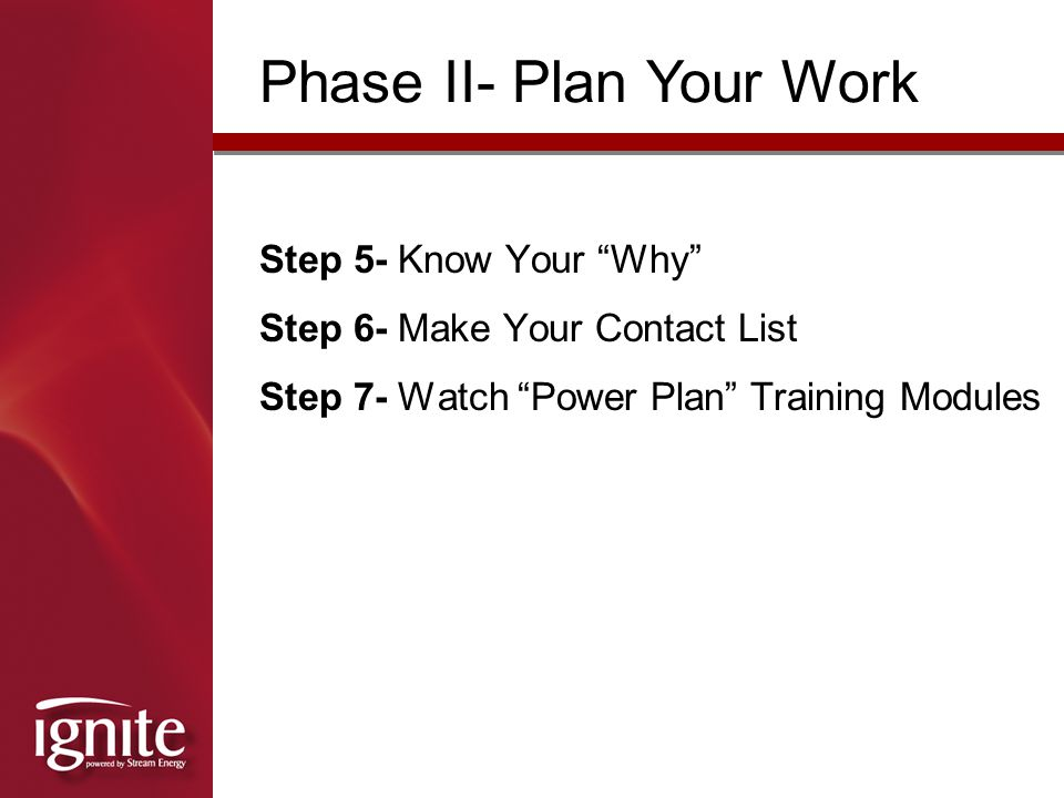 Phase II- Plan Your Work
