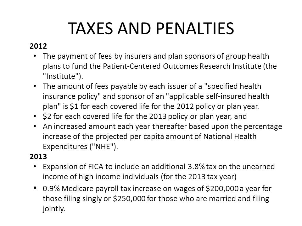 TAXES AND PENALTIES 2012.