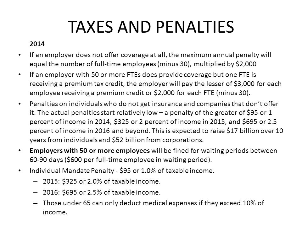 TAXES AND PENALTIES 2014.