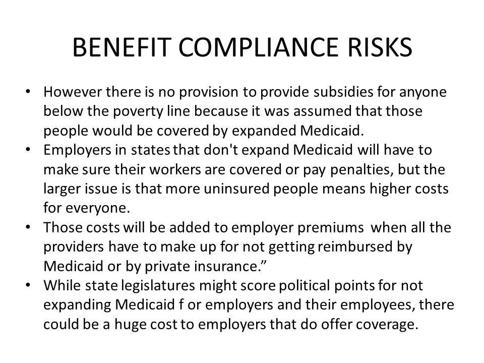 BENEFIT COMPLIANCE RISKS