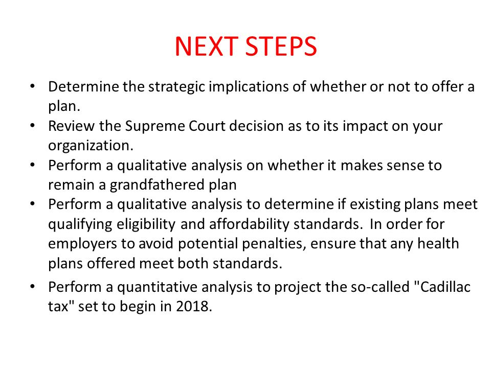 NEXT STEPS Determine the strategic implications of whether or not to offer a plan.