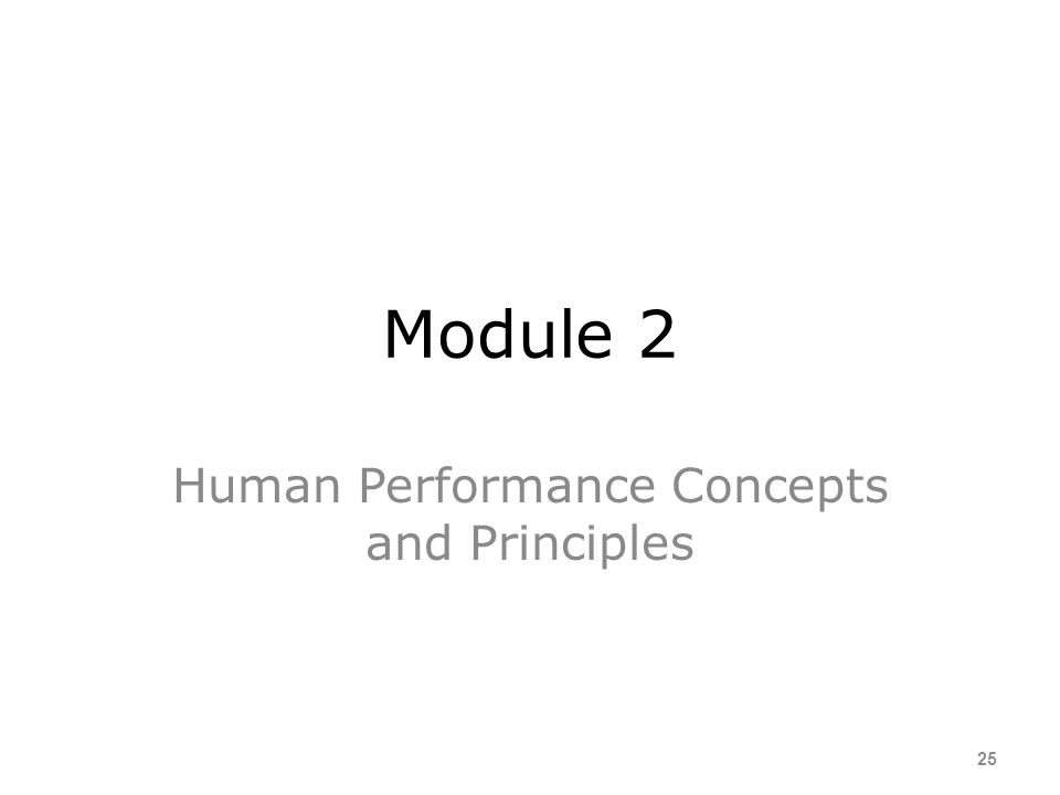Human Performance Concepts and Principles