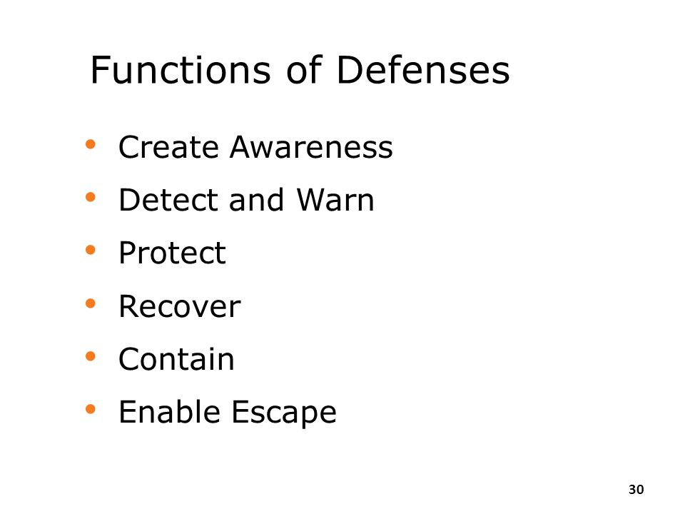 Functions of Defenses Create Awareness Detect and Warn Protect Recover
