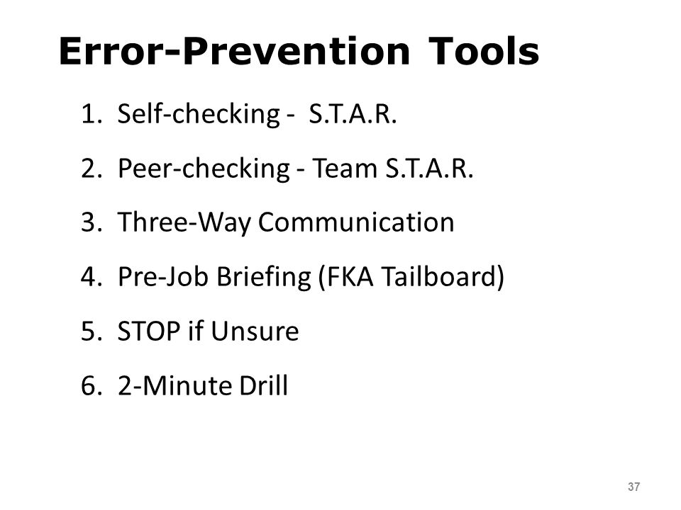 Error-Prevention Tools