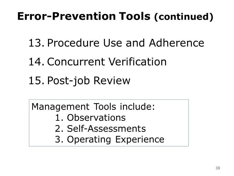 Error-Prevention Tools (continued)