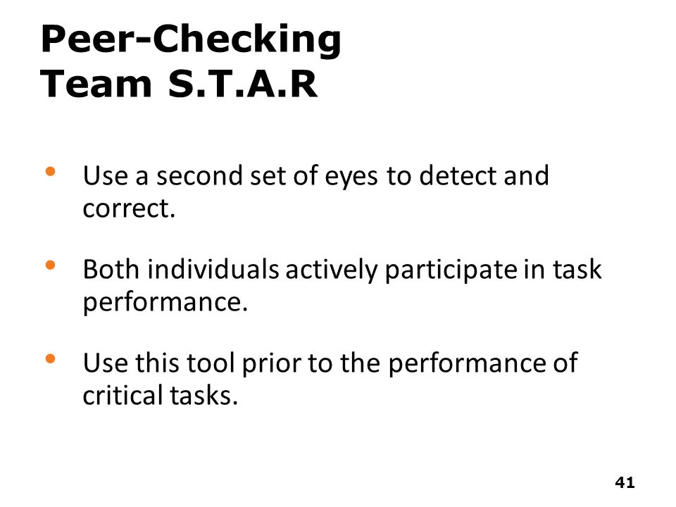 Peer-Checking Team S.T.A.R