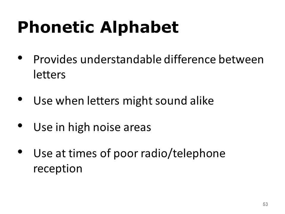 Phonetic Alphabet Provides understandable difference between letters