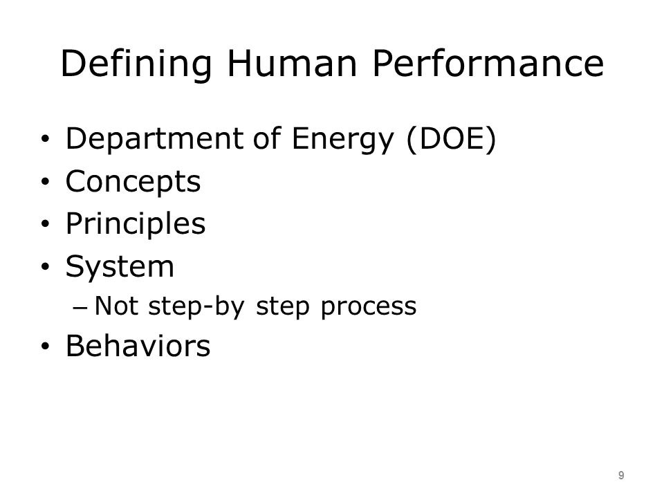 Defining Human Performance
