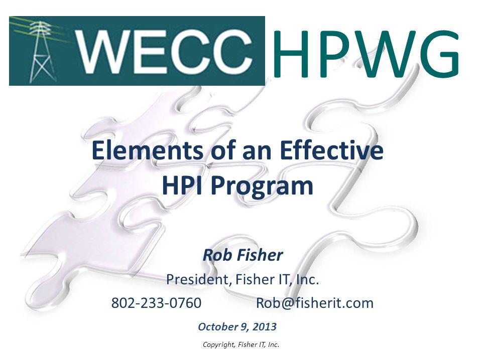Elements of an Effective HPI Program