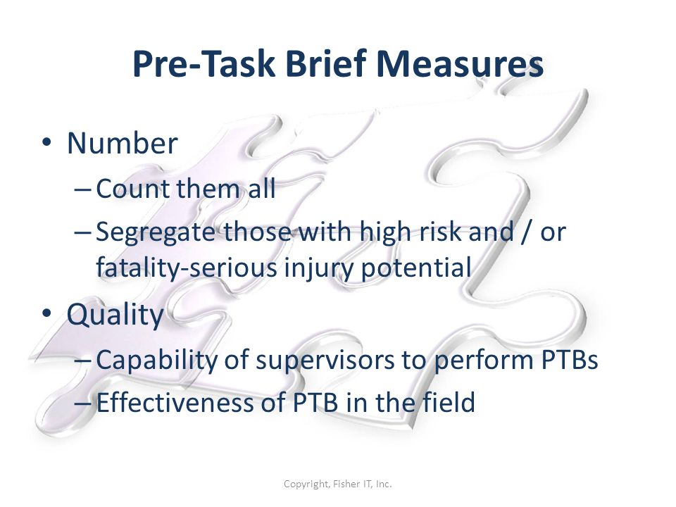 Pre-Task Brief Measures