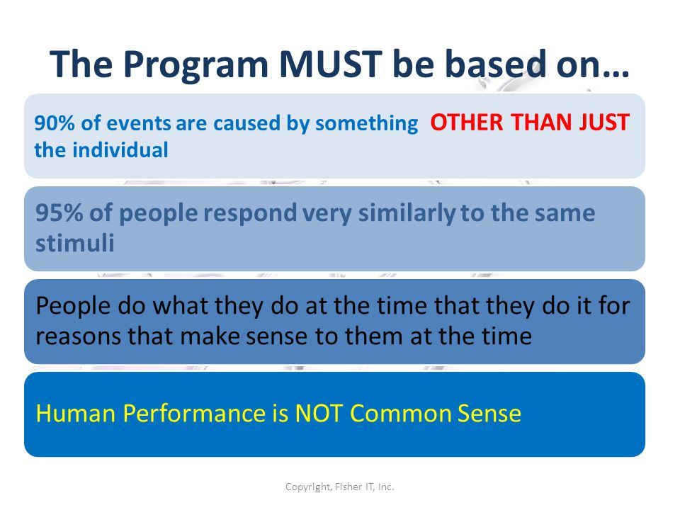 The Program MUST be based on…