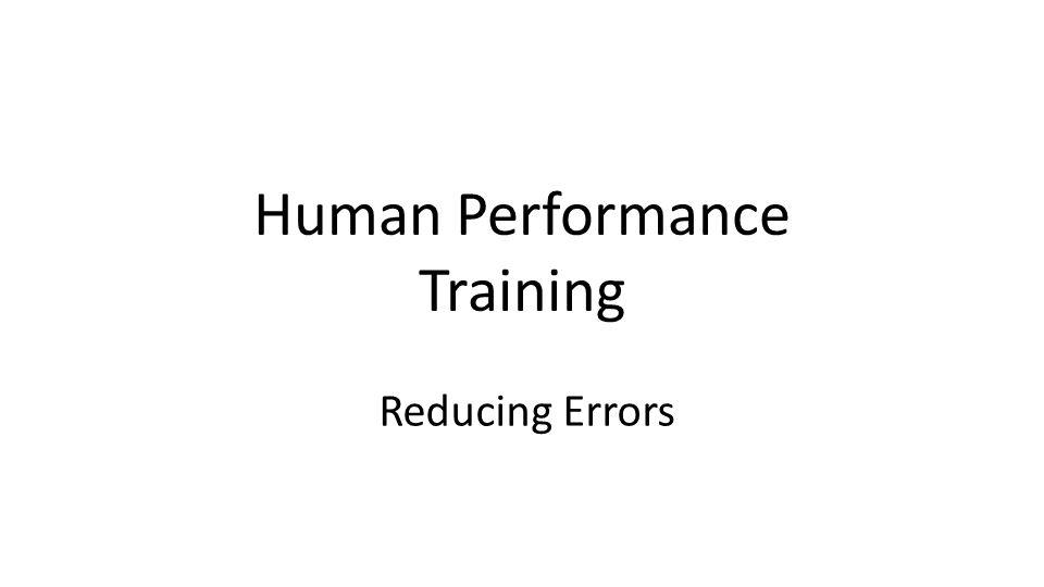 Human Performance Training